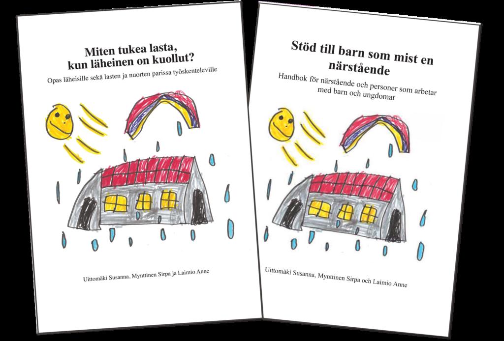Lapsioppaiden kannet, suomi ja ruotsi.